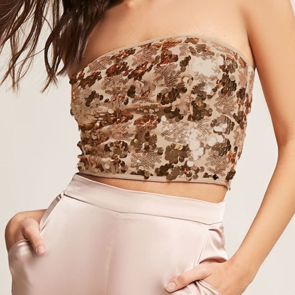 ca6c597aa1dec Forever tops sequin cropped tube top gold poshmark jpg 580x580 Tube top gold